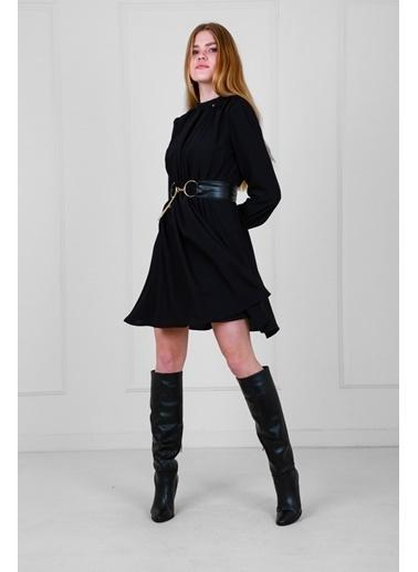 JEANNE D'ARC Deri Kemerli Uzun Kollu Yakadan Büzgülü Elbise  Siyah